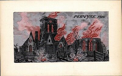 Woven Silk. WW1 Flames by Neyret Freres. Pervyse 1914.