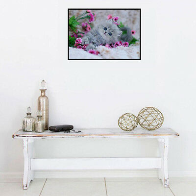 5D DIY Decor Diamond Painting Embroidery Cat and flowers Pattern Cross Stitch S