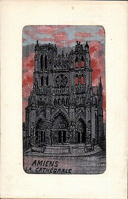 Woven Silk. WW1 Flames by Neyret Freres. Amiens. La Cathedrale.