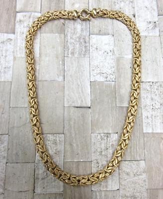 """Gold Plated Sterling Silver Flat Byzantine Chain Necklace 36grams 18"""" ~ 14-E8438"""