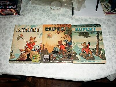Rupert annuals 1963,1968 (magic paintings not done) & 1970 all very good conditi