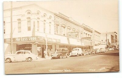 Washington-Vancouver-Real Photo-Town View-Florsheim-Hardware-Cars-Postcard