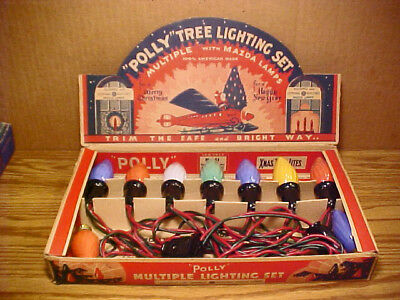 Vintage POLLY 7 Lamp C9 Christmas Light Set No.51-Inside Color Swirl Flame Bulbs