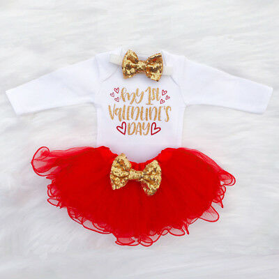3PCS Infant Baby Girl Letter Romper+Tutu Tulle Skirt Valentine Outfit Set BR Lot