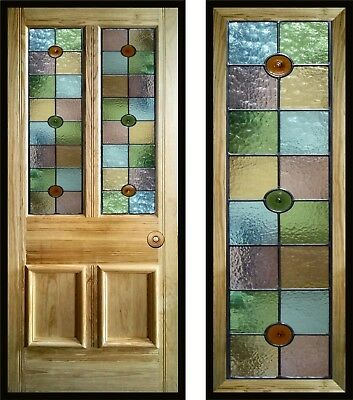 Victorian, Edwardian style Stained Glass Door Panels, handmade to order