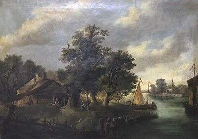 FINE HUGE DUTCH 19thC OIL - RIVER LANDSCAPE MOORED BOATS - FIGURES BY COTTAGES
