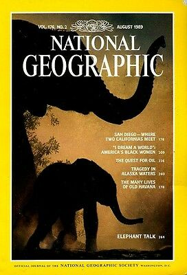 Nat Geographic Aug 1989  ELEPHANTS old HAVANA ALASKA OIL  SAN DIEGO