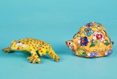 2 Rare Chinese Cloisonne Enamel Figurines Frogs Turtles Handmade Decorative Gift