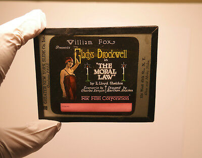 """1918 """"The Moral Law"""" Brockwell MOVIE THEATER ad glass slide"""