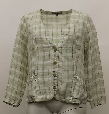 FLAX SELECT LINEN POCKETED DUSTER BUTTONED JACKET SAND PLAID PLUS SIZE 2G NWT