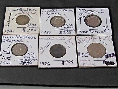 Lot (6) British 925 Silver Coins George V Silver