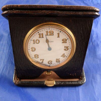 Stunning Antique 1920S 8 Day Travel Clock In Leather Case Not Working