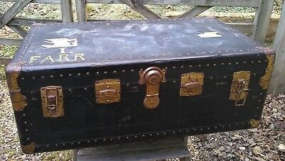 Vintage Trunk Foot Locker Case Storage Luggage Suitcase 1950s with uk/us labels