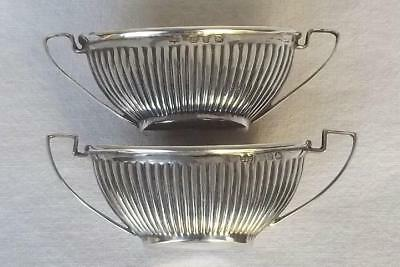 A Fine Pair Of Solid Silver Victorian Twin Handled Salt Bowls Birmingham 1898.