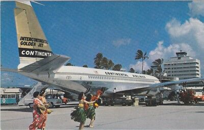 B-707 Golden Fan Jet, ramp view unused post card NO Reserve