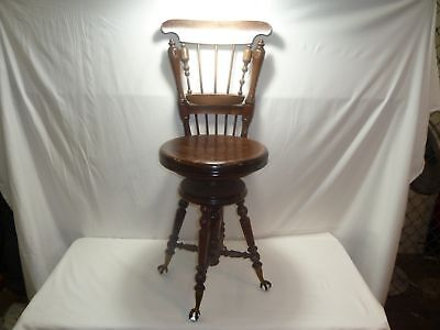 Vintage Boston Co. Swivel Reclining Piano Stool Ball & Claw Feet (750)