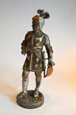 ANTIQUE 19thC Gothic COLD PAINTED SPELTER FRENCH MEDIEVAL KNIGHT Emile Bruchon