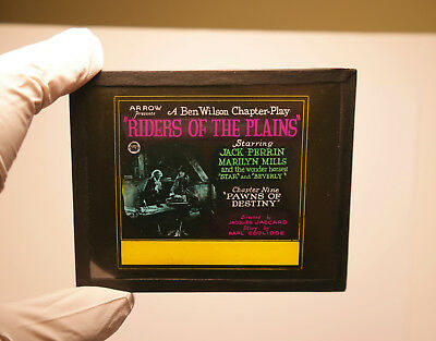 """1920s """"Riders of the Plains"""" Jack Perrin Mills MOVIE THEATER ad glass slide"""
