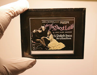 """1910s """"The Highest Law"""" MOVIE THEATER ad glass slide"""