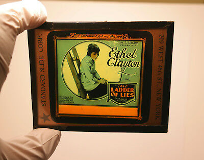"""1920 """"The Ladder of Lies"""" Ethel Clayton MOVIE THEATER ad glass slide"""