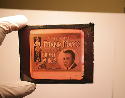 """1920 """"Burnt Wings"""" Frank Mayo  MOVIE THEATER ad glass slide"""