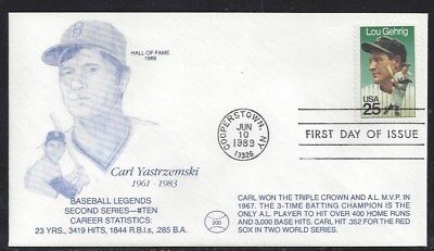 #2417 Lou Gehrig First Day Cover with Carl Yastrzemski Cachet