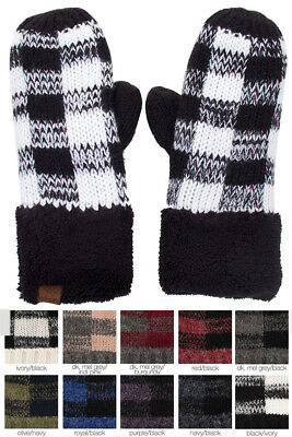 Jinscloset CC Buffalo Check Plaid Pattern Fuzzy Fleece Inside Warm Winter Glove