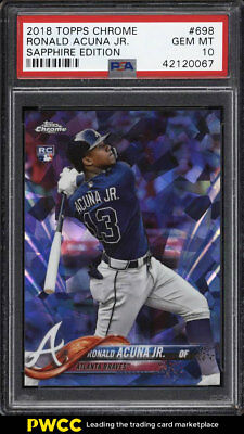 2018 Topps Chrome Sapphire Edition Ronald Acuna Jr. ROOKIE RC #698 PSA 10 (PWCC)