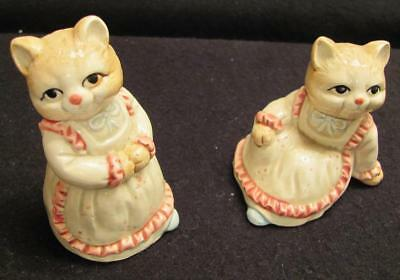 Vintage KOREA Collectible Pair of Ceramic Kitten Figurines Vintage CATS  3 1/2""