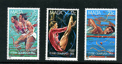 MALTA -1984 - OLYMPIC GAMES  - SET OF 3 - SG 742 to 744 - MNH