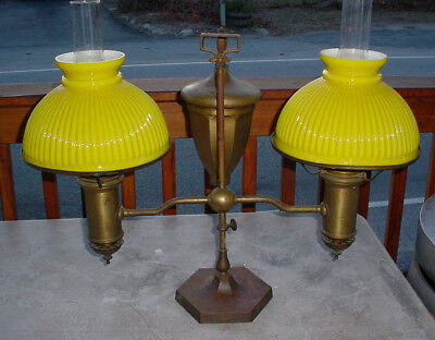 Large Antique Brass E Miller Double Student Oil Lamp W/ Yellow Ribbed Shades N/r