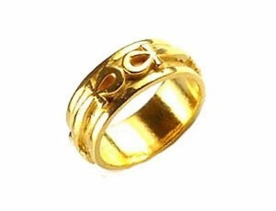 LOOK Egyptian Eternal Life Ankh Ring 24kt Gold plated egypt Jewelry solid New