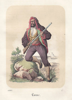 1861 Korsika Corse Corsica Tracht costume Mann man Lithographie lithograph