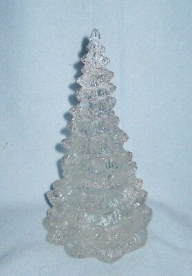 """Solid clear glass CHRISTMAS TREE pine short leafy full boughs branches 7 3/4"""""""