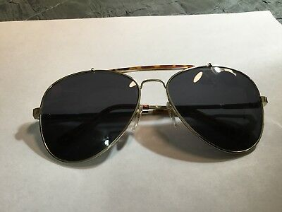Vintage Aviator Pilot Faux Tortoise And Gold Tone Sunglasses With Case
