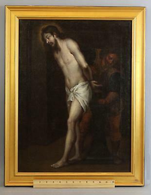 17thC Antique Old-Master Religious Oil Painting of Jesus Christ Shackled