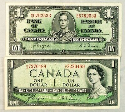 Pair of Canada $1 Bank Notes - VF/XF - 1937 & 1954 - Coyne/Towers Signatures