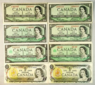 Lot of 8 Canada $1 Bank Notes - VF & Better - Pick #s 66a & 66b (Devil's Face)