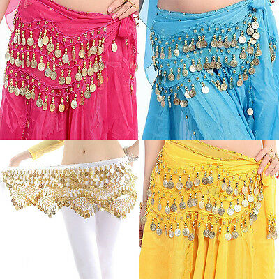 Belly Dance Gold Coin 3 Rows Belt Hip Scarf Skirt Wrap Chain Dancing Costume Rl
