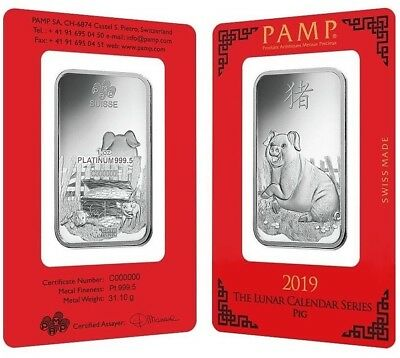2019 ~ 1~OUNCE ~ PLATINUM ~ YEAR of the PIG ~ PAMP SUISSE ~ SEALED BAR ~ $998.88