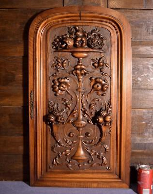 "33"" Tall French Antique Deep Carved Floral Panel Door in Walnut Wood"