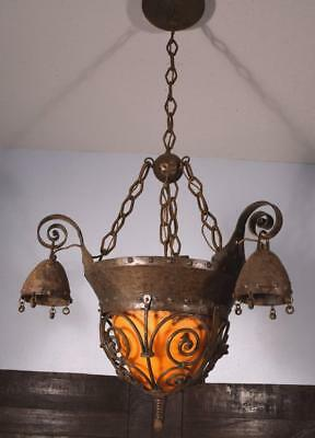 French Antique Gothic Revival Iron and Muller Freres Glass Chandelier/Lamp