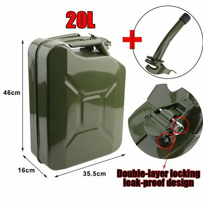 20L Army Metal Jerry Can Petrol Oil Canister 0.8mm Top Quality Steel  MI