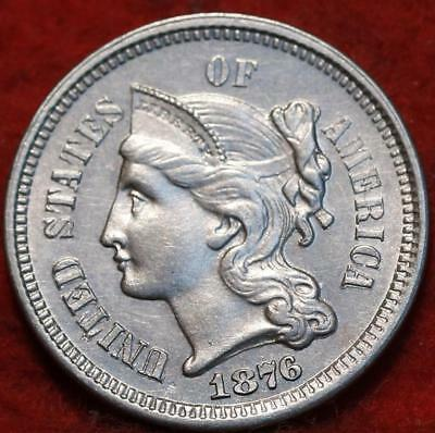 1876 Philadelphia Mint Silver Three Cent Coin