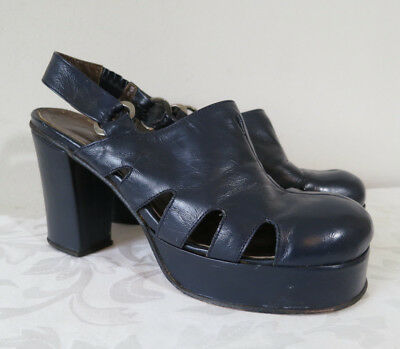 VTG 1970s women's navy blue sling back platform shoes heels disco 7
