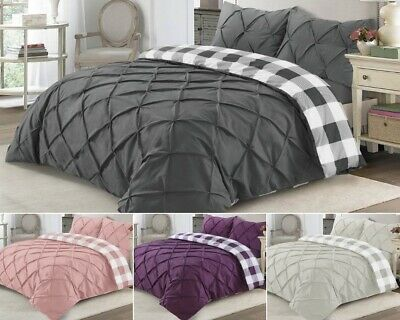 Duvet Cover Set Check Pintuck Pleated Bedding Sets Quilt Cover Double King Size