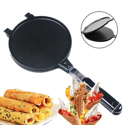 Home Ice Cream Waffle Maker Mold Baking Pan Egg Roll Crispy Cone Omelet Machine