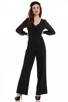 1b7ae024a2d Voodoo Vixen Retro Resemary Black Gothic Witch Jumpsuit Shirt Pants Jsa5615