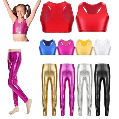 Girls Metallic Shiny Dancing Leggings Tight Racer Back Crop Top Dance Costumes