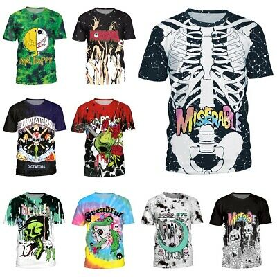 Mens/Womens Plus Size Short-sleeved T-shirt Summer Round Neck Hip Hop Print Top